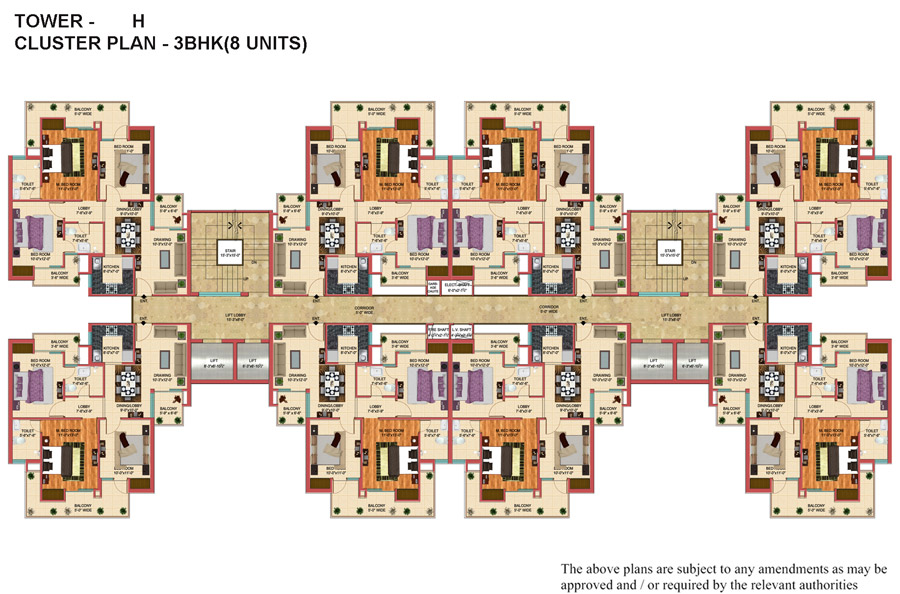 28 cluster plan 3 bhk apartments unit plan 3 bhk for Apartment cluster plans